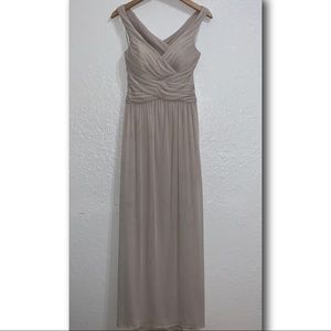David's Bridal Mesh Long Bridesmaid Dress